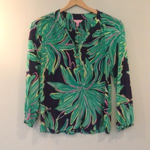 Lilly Pulitzer Elsa Silk Blouse, Size Small